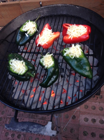 Chiles rellenos on the grill