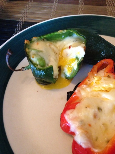 Grilled chiles rellenos ready to eat