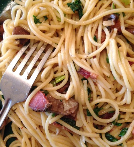 Basil Garlic Noodles with Bacon and Parsley