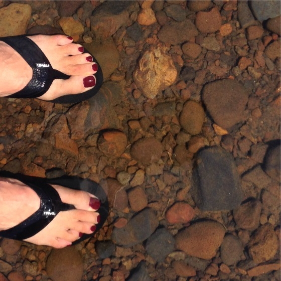 Standing in Lake Tahoe - happy feet!