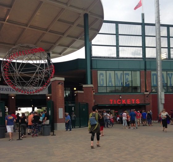 Entrance and ticket lines at the Reno Aces ballpark